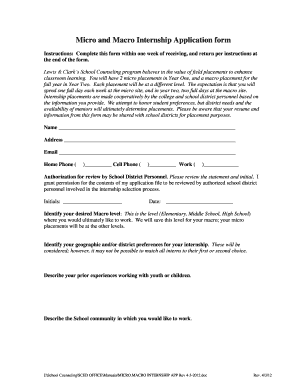 micro and macro internship application form fill online printable