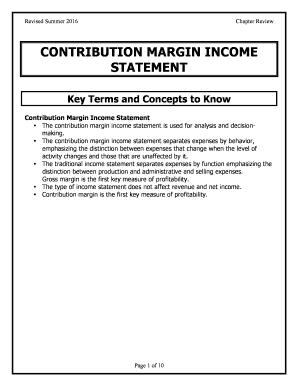 CONTRIBUTION MARGIN INCOME