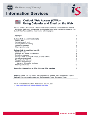 Outlook Web Access (OWA) Using Calendar And Email On The Web