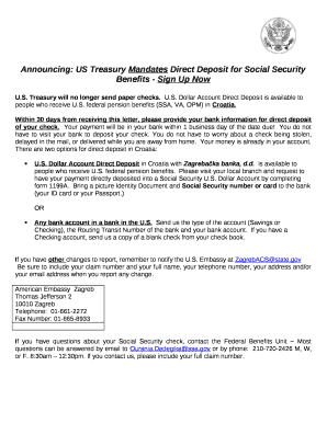 Announcing: US Treasury Mandates Direct Deposit for Social Security