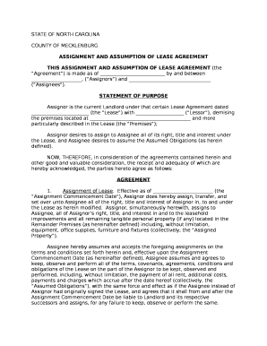 ASSIGNMENT AND ASSUMPTION OF LEASE AGREEMENT