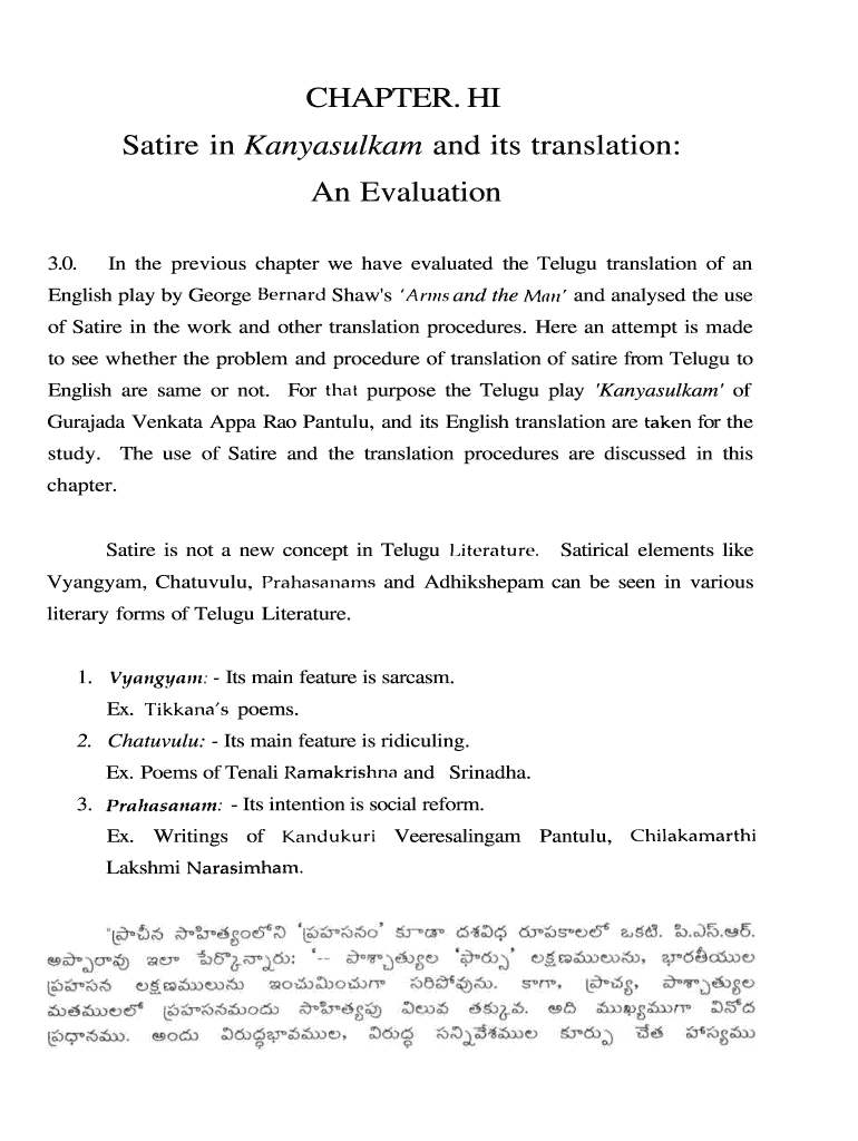 Satire in Kanyasulkam and its translation: Fill Online