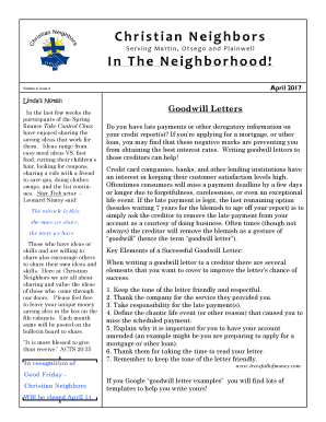 sample goodwill letter to creditor   Edit Online, Fill, Print