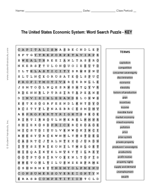 Fillable Online The United States Economic System: Word