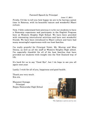 farewell speech for principal