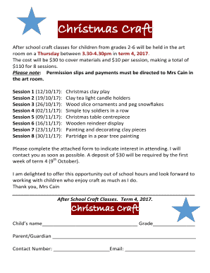 Fillable Online After School Craft Classes For Children From Grades 2 6 Will Be Held In The Art Fax Email Print Pdffiller