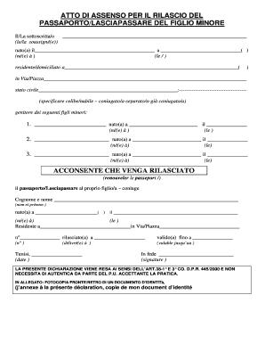 Fillable Online Atto Di Assenso Per Il Rilascio Del Fax Email Print Pdffiller