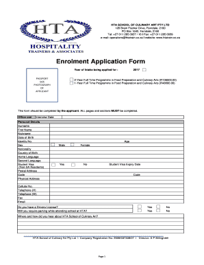 Fillable Online HTA SCHOOL OF CULINARY ART PTY LTD Fax Email