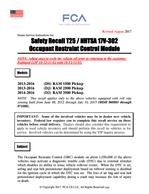 Fillable Online Safety Recall T25 / NHTSA 17V-302 Fax Email