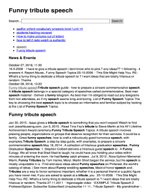 funny tribute speech topics