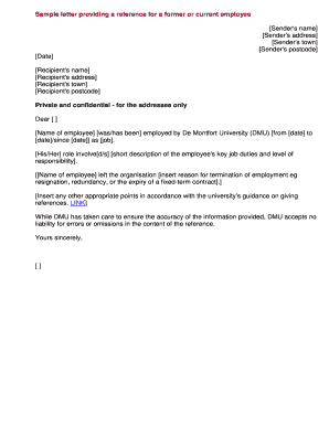 Sample Letter Providing A Reference For A Former Or Current Employee  Sample Employee Termination Letter