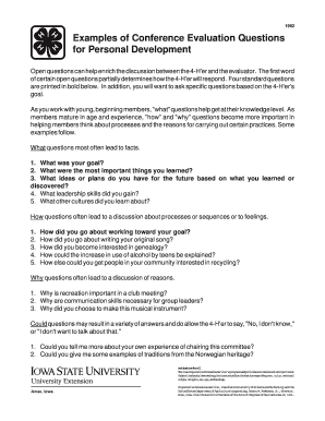 evaluation questions examples - Edit, Print & Download