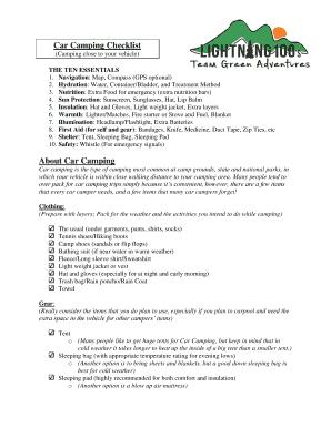 Printable Free Camping Checklist