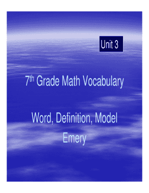 7th Grade Math Vocabulary Fill Online Printable Fillable Blank