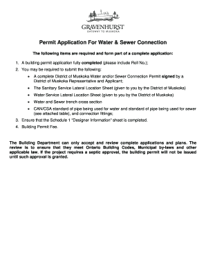 Permit Application For Water & Sewer Connection