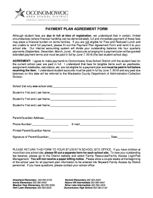 Editable Free Payment Plan Agreement Template Fill Out