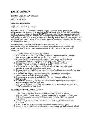 Fillable Online Job Title Client Billing Coordinator Fax Email