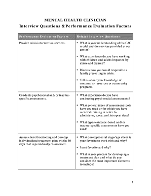 Interview Questions U0026 Performance Evaluation Factors  Interview Questions Template