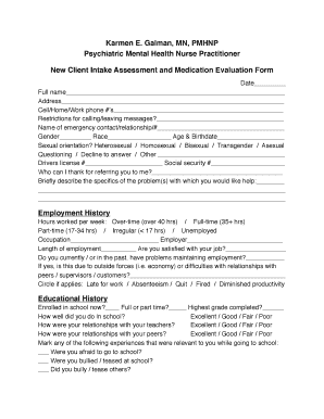 Printable mental health nursing assessment forms Templates to Submit