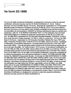Fillable Online Va Form 22 1999 Enrollment Certification Is