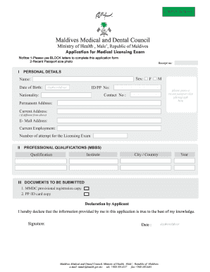 Fillable Online Maldives Medical and Dental Council Fax Email Print