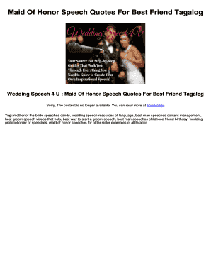 Maid Of Honor Speech Quotes For Best Friend Tagalog Fill ...