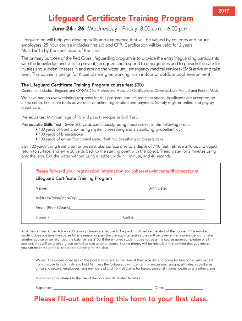 lifeguard training certificate form program cohasset swim template printable signnow