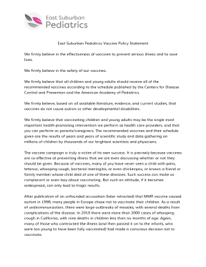 East Suburban Pediatrics Vaccine Policy Statement Fill