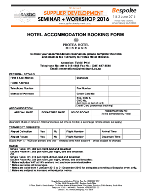 Fillable Online To make your accommodation reservation, please