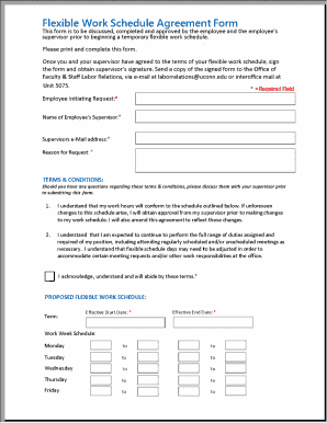 Fillable Online Flexible Work Schedule Agreement Form Fax