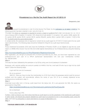 Printable e filing of tax audit report procedure - Edit