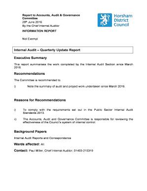 Printable executive summary of internal audit report - Edit