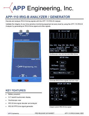Fillable Online APP-110 IRIG-B ANALYZER / GENERATOR Fax