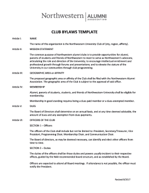club bylaws template fill out online forms templates download in