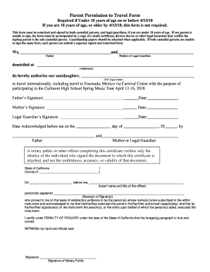Parent Permission To Travel Form Fill Online Printable