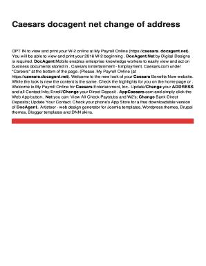 docagent caesars payroll Caesars docagent net change of address Fill Online, Printable ...