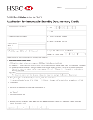 Fillable standby letter of credit vs bank guarantee edit online application for irrevocable standby documentary credit altavistaventures Gallery