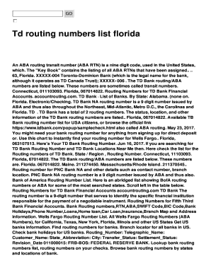 Td routing numbers list florida Fill Online, Printable