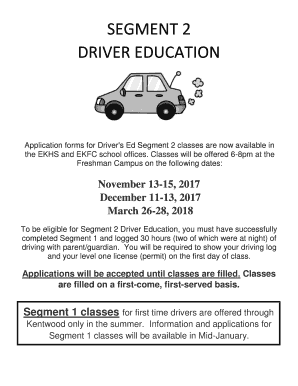 drivers ed segment 2 classes