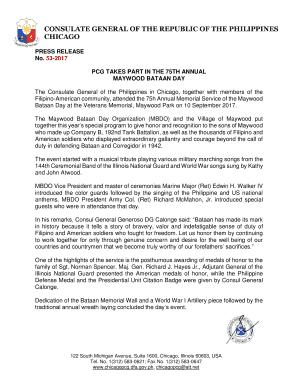 philippine consulate chicago parking - Edit Online, Fill