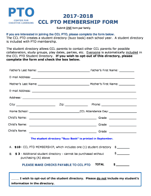Ccl pto membership form fill online printable fillable blank preview of sample form rating thecheapjerseys Choice Image