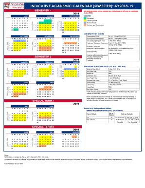 Ucm Academic Calendar.Fillable Online Indicative Academic Calendar Semester Ay2018 19