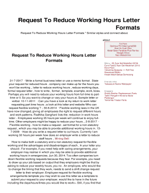 Request To Reduce Working Hours Letter Fill Online Printable