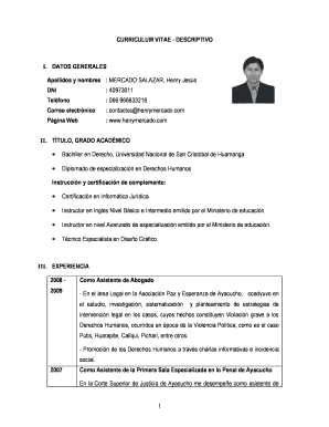 Fillable Ejemplos De Curriculum Vitae Hechos Pdf Edit Online