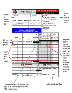 Fillable constructed travel worksheet mileage - Edit Online ...