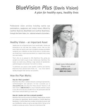 Fillable Online BlueVision Plus (Davis Vision) Fax Email Print