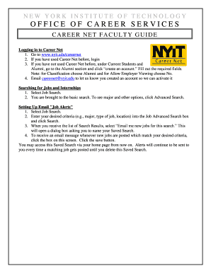 Printable nyu careernet employer - Edit, Fill Out & Download