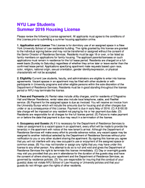 Printable nyu law summer housing rates - Edit, Fill Out