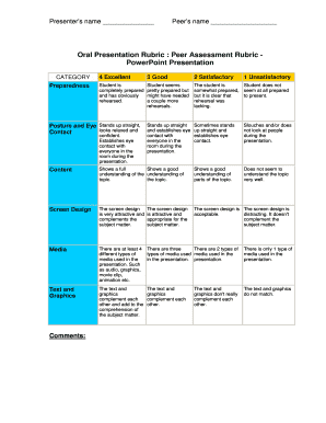 printable peer assessment rubric for presentation - fill out, Presentation templates