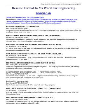 Editable Civil Engineering Resume Format In Word Fill Print